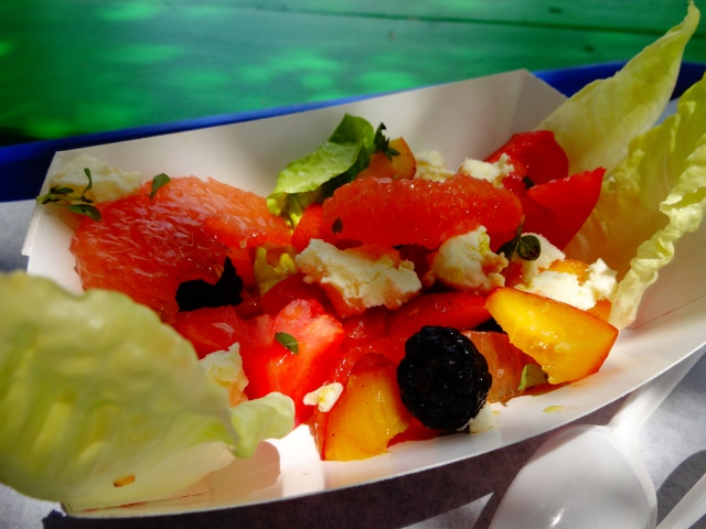 Fruit and Veggies plate that featured Heirloom Tomatoes, Peaches, Blackberries, Grapefruit, Pickled Sweet Onion, Bibb Lettuce Hearts, and House-made Ricotta