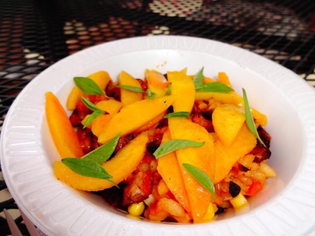 White Wine Risotto with Sweet Corn, Pickled Peaches, Bacon, and Basil