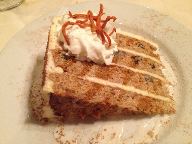 Carrot Cake with Cinnamon Rum Crème Angaise