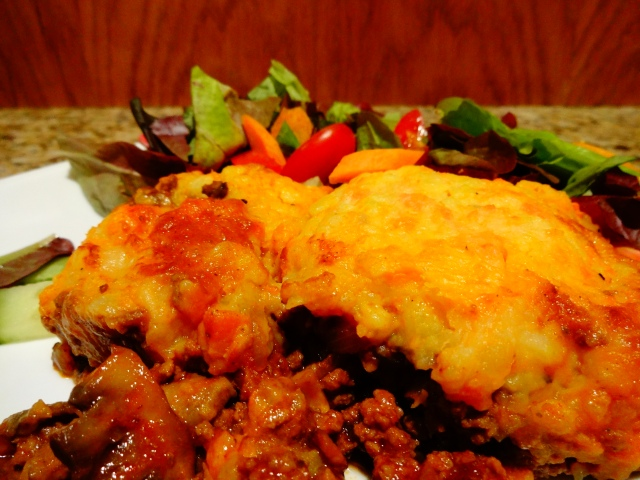Cottage Pie with Veggie Mash and Red Lead Lettuce Salad